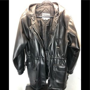 Marco Polo Black Leather Coat Size L